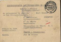 PRIGIONIERI POW CAMP DEPOT 11 BARLIN FRANCE 1946 MANNHEIM GERMAN POW RISPOSTA ## - Military Mail (PM)