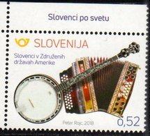 SLOVENIA , 2018, MNH, SLOVENES IN AMERICA, MUSIC, MUSICAL INSTRUMENTS,1v - Musique