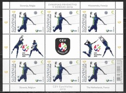 SLOVENIA , 2019, MNH, VOLLEYBALL, EUROPEAN VOLLEYBALL CHAMPIONSHIP, SHEETLET OF 6v+ TABS - Volleyball