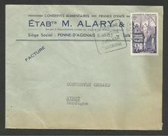 """LOT & GARONNE / Daguin PENNE D'AGENAIS / Enveloppe Commerciale Concordante """" Conserves M. ALARY """" 1955 - 1921-1960: Modern Period"""