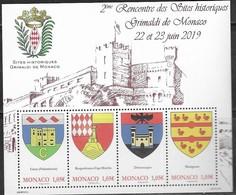 MONACO , 2019, MNH,GRIMALDI SHIELDS, COAT OF ARMS, SHEETLET - Stamps