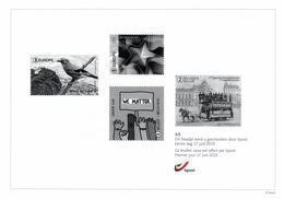 Belgium 2019 Black And White Sheetlet BPost 17-Jun-2019, Europa Bird, Star Fruit, Comics Chrostin, Horse-Drawn Tram - Foglietti Bianchi & Neri