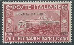 1926 SOMALIA SAN FRANCESCO 60 CENT MH * - UR35-4 - Somalia