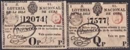 LOT-4 CUBA SPAIN ESPAÑA OLD LOTTERY. BILLETE DE LOTERIA 1821. SORTEO 81.  CUARTO Y OCTAVO DE BILLETE - Loterijbiljetten