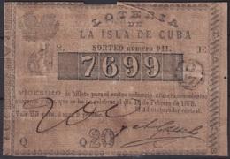LOT-68 CUBA SPAIN ESPAÑA OLD LOTTERY. BILLETE DE LOTERIA 1875. SORTEO 911 - Lottery Tickets