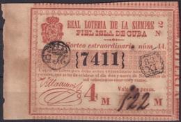 LOT-76 CUBA SPAIN ESPAÑA OLD LOTTERY. BILLETE DE LOTERIA 1844. SORTEO 44 EXTRAORDINARIO - Lottery Tickets