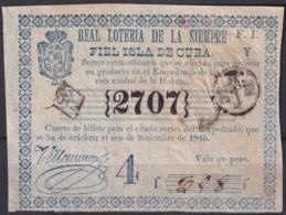 LOT-77 CUBA SPAIN ESPAÑA OLD LOTTERY. BILLETE DE LOTERIA 1845. SORTEO EXTRAORDINARIO - Lottery Tickets