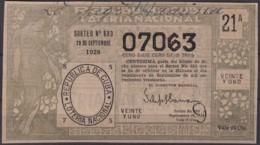 LOT-390  CUBA REPUBLICA OLD LOTTERY SORTEO DE LOTERIA Nº683 29/09/1928 - Lottery Tickets