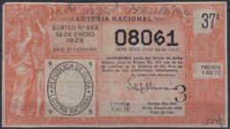 LOT-391  CUBA REPUBLICA OLD LOTTERY SORTEO DE LOTERIA Nº693 10/01/1929 - Lottery Tickets