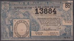 LOT-392  CUBA REPUBLICA OLD LOTTERY SORTEO DE LOTERIA Nº708 10/06/1929 - Lottery Tickets