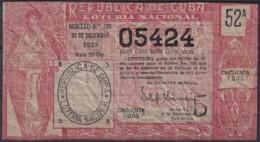LOT-382  CUBA REPUBLICA OLD LOTTERY SORTEO DE LOTERIA Nº728 31/12/1929 - Lottery Tickets