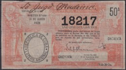 LOT-404  CUBA REPUBLICA OLD LOTTERY SORTEO DE LOTERIA Nº680 31/08/1928 - Lottery Tickets