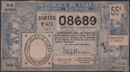 LOT-405  CUBA REPUBLICA OLD LOTTERY SORTEO DE LOTERIA Nº674 30/06/1928 - Lottery Tickets