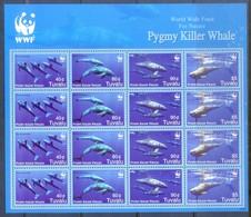 J38- Tuvalu WWF W.W.F Pygmy Killer Whale Sheet Let Of 4 Sets. - W.W.F.