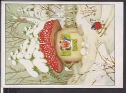 Künstlerpostkarte Zwerg , Gnom , Marienkäfer , Pilz - Illustrators & Photographers
