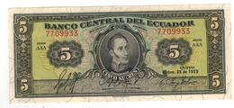 Ecuador, 5 Sucres 1955, UNC. - Ecuador