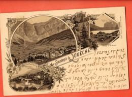 MY-02 Souvenir De Louèche-les-Bains Leukerbad, Loèche, Multivues Gruss. Précurseur, Gelaufen 1897 - VS Wallis