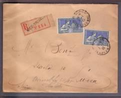 Lettre Recommandée  654 Aff.  2x 75c Expo Int Arts Décoratifs Obl. Nice Grimaldi 03.01.1925 ->Lucerne - Poststempel (Briefe)