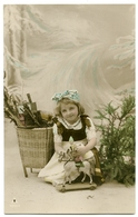 CHRISTMAS : PRETTY GIRL WITH TOY HORSE (HAND-COLOURED) - Natale