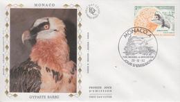 Enveloppe  FDC   1er  Jour   MONACO   Gypaete  Barbu    Parc  National   Du   Mercantour  1992 - Adler & Greifvögel