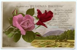 TO GREET DEAR GRANDMA'S BIRTHDAY : RED ROSES / COUNTRY SCENE - HARVESTING - Birthday