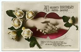 A HEARTY BIRTHDAY HAND-SHAKE : WHITE ROSES - Birthday