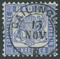 1864, 6 Kr. Ultramarin, Idealer K2 GAILINGEN, Kabinett, Gepr. Seeger -> Automatically Generated Translation: 1864, 6 Kr. - Baden