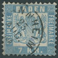 1871, 7 Kr. Hellblau, Feinst, Mi. 130.- -> Automatically Generated Translation: 1871, 7 Kr. Pale Blue, Very Fine, Michel - Baden