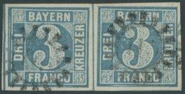 BAYERN 2II Paar O, 1859, 3 Kr. Blau Im Waagerechten Paar, Kabinett - Bavaria