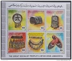 L21 - Libya 1994 Mi. 2024-2029 MNH Sheetlet -  SILVER JEWELLERY - Folklore Handicrafts Silver Foil Embossing - Libië