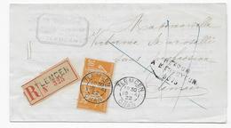 Alg16 Lettre Reco France N°141 (paire) Semeuse Utilisée En Algérie Obl Tlemcen + Retour (1922) - Algeria (1924-1962)