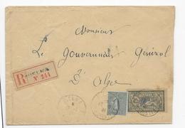 Alg18 Lettre Reco France N°129 + 143 Semeuse + Merson Utilisés En Algérie Obl Guelma (1921) - Algeria (1924-1962)