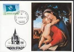 UNO WIEN  UNICEF-Kunstkarte Nr 30, Julius Schnorr Von Carolsfeld, Zum Dt. Philatelistentag Ingolstadt 1910.1984 - Lettres & Documents