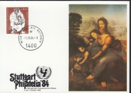 UNO WIEN  UNICEF-Kunstkarte Nr 29, Leonardo Da Vinci, Zur PHILATELIA '84, Stuttgart 5.10.1984 - Lettres & Documents