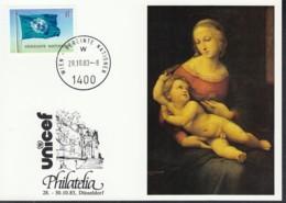 UNO WIEN  UNICEF-Kunstkarte, Raffael, Zur PHILATELIA '83, Düsseldorf 28.10.1983 - Lettres & Documents
