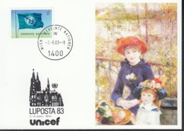 UNO WIEN  UNICEF-Kunstkarte, Auguste Renoir, Zur LUPOSTA '83, Köln 2.6.1983 - Lettres & Documents