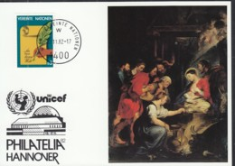 UNO WIEN  UNICEF-Kunstkarte, P. P. Rubens, Zur PHILATELIA '82, Hannover 12.11.1982 - Lettres & Documents