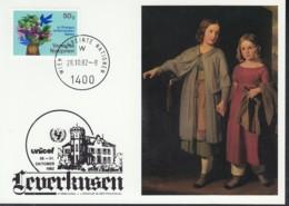 UNO WIEN  UNICEF-Kunstkarte, Gustav Adolf Henning, Zur Forschung Und Literatur In Der PHILATELIE, Leverkusen 28.10.1982 - Lettres & Documents
