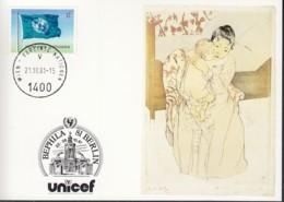 UNO WIEN  UNICEF-Kunstkarte, Mary Cassatt, Zur BEPHILA '81, Berlin 21.10.1981 - Lettres & Documents