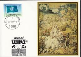 UNO WIEN  UNICEF-Kunstkarte, Albrecht Dürer, Madonna Mit Kind, Zur WIPA '81, Wien 22.5.1981 - Lettres & Documents