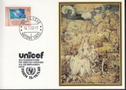 UNO GENF  UNICEF-Kunstkarte, Albrecht Dürer, Madonna Mit Kind, Zur Int. Briefmarkenmesse, Essen 14.11.1980 - Office De Genève