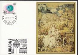 UNO GENF  UNICEF-Kunstkarte, Albrecht Dürer, Madonna Mit Kind, Zur LURABA, Luzern 20.3.1981 - Office De Genève