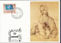 UNO GENF  UNICEF-Kunstkarte, Raphael, Madonna Mit Kind, Zur PHILATELIA '81, Frankfurt  13.11.1981 - Office De Genève
