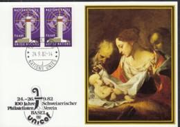 UNO GENF  UNICEF-Kunstkarte, Guiseppe Petrini, Madonna Mit Kind, Zu 100 J Schweizer Philatelistenverein Basel 24.9.1982 - Office De Genève