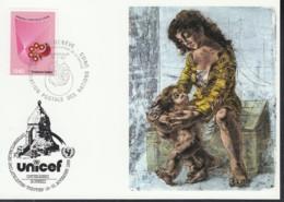 UNO GENF  UNICEF-Kunstkarte, Hans Erni, Mutter Mit Kind, Zum Int. Philatelistentreffen Unterägeri 19.11.1982 - Office De Genève