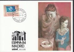 UNO GENF  UNICEF-Kunstkarte, Pablo Picassor, Mutter Mit Kind, Zur ESPANA Madrid 27.4.1984 - Office De Genève