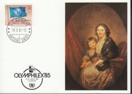 UNO GENF  UNICEF-Kunstkarte, Anton Graff, Mutter Mit Kind, Zur OLYMPHILEX Lausanne 18.3.1985 - Office De Genève