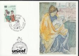 UNO GENF  UNICEF-Kunstkarte Nr 135, Hans Brühlmann, Mutter Mit Kind, Zum Philatelistentreffen Rossrüti 22.11.1985 - Office De Genève