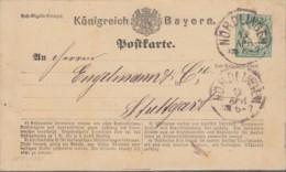 BAYERN P 1 I, Gestempelt: Nördlingen 13.APR (1875) - Bayern