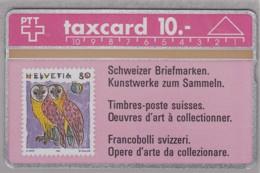 SCHWEIZ TELEFONKARTE Taxcard 10 SFr, Motiv MiNr. 1437, Schleiereule, 1991 - Briefmarken & Münzen
